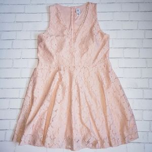 Lillian Peach Lace Fit And Flare Dress